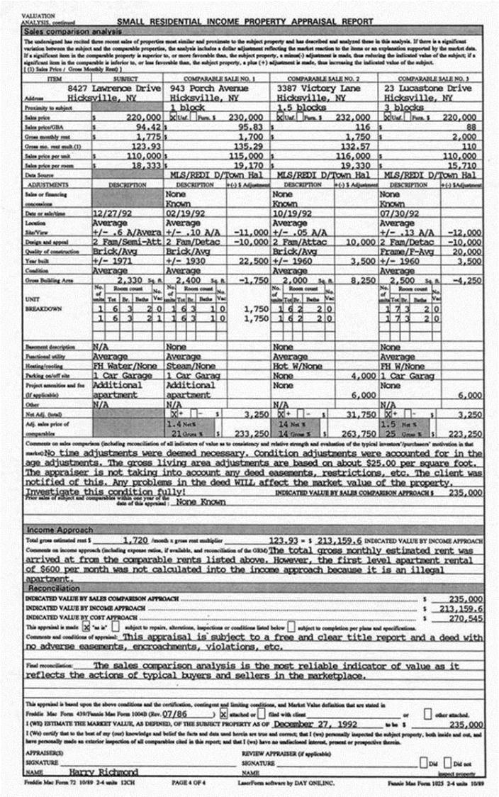Rea example appraisal report sample multi family for What appraisers look for