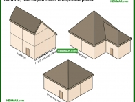 1701-co Saltbox and four square and compound plans - Building Shapes and Details - Architectural Styles - Exterior