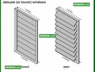 1717 Jalousie or Louver Windows - House Exterior - Windows