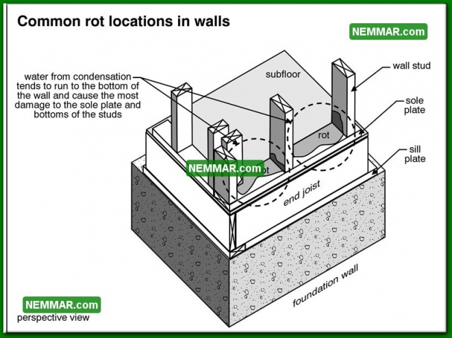 0380 Common Rot Locations in Walls - Wall Systems - Wood Frame Walls